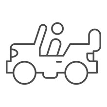 Army Vehicle Thin Line Icon. Offroad Rover With Person, Car And Soldier Symbol, Outline Style Pictogram On White Background. Military Sign For Mobile Concept And Web Design. Vector Graphics.