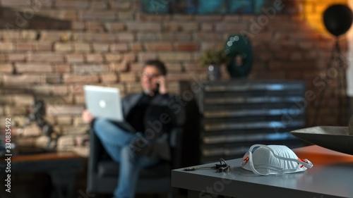 Fototapeta Home office - virus protective mask on desk obraz