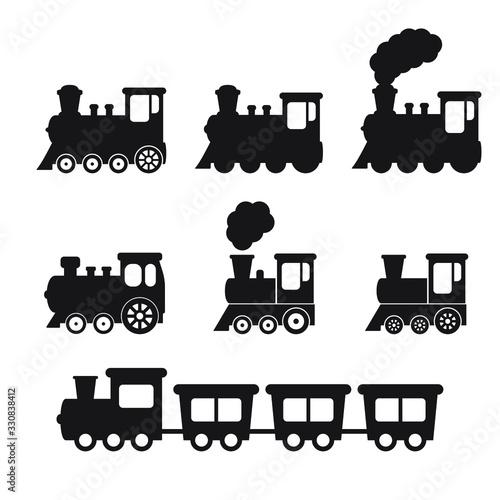 Stampa su Tela Train icon, Train with smoke symbol icon, old locomotive silhouette, sign vector