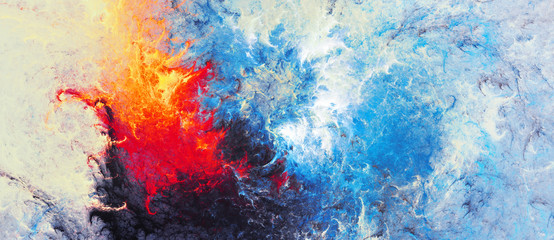Ice and flame. Bright artistic splashes. Abstract painting color texture. Mod...