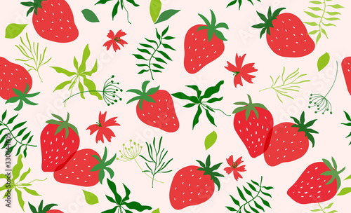 Seamless pattern with strawberry. Vector - 330844605