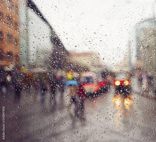 City scene on a rainy day Wallpaper Mural
