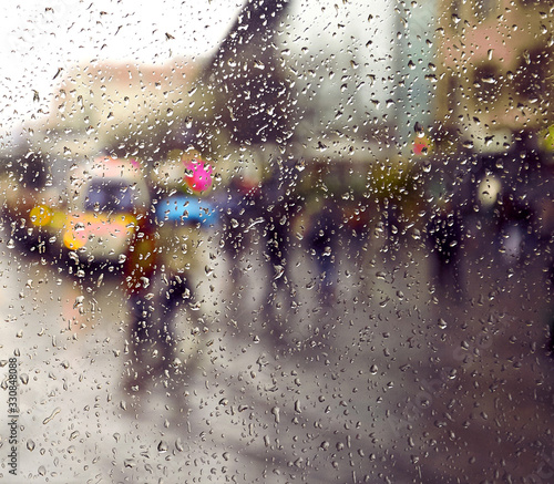 City scene on a rainy day Canvas Print