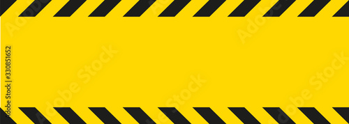 Obraz Yellow warning stripe template. Vector illustration - fototapety do salonu