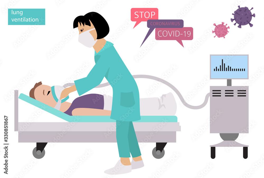 Fototapeta Lung ventilation. Quarantine, stop coronavirus epidemic design concept