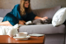 Cozy Home Interior With Teapot...