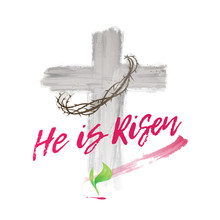 Watercolor Cross Of Christ He Is Risen
