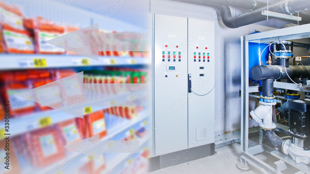 Fototapeta Refrigeration equipment. Refrigeration display case for food storage. Equipment management system. System for monitoring refrigerated counters. Large motor for cooling. Equipment for a supermarket
