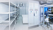 Refrigeration chamber for food storage. Empty freezer. Industrial refrigerator. Freezer with metal shelving. Shield for controlling the freezer. Cabinet for cold management. Engine in the fridge