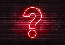 Neon Sign On A Brick Wall In The Shape Of A Question Mark.(illustration Series)