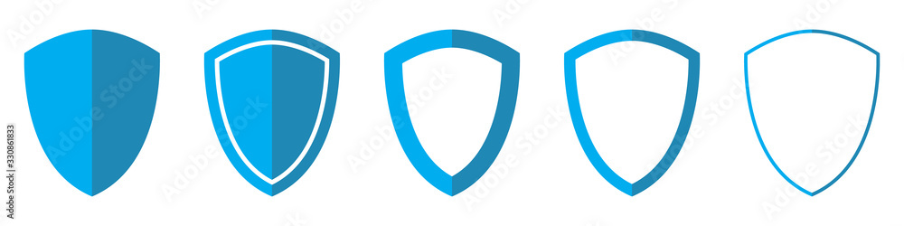 Fototapeta Vector Shield in flat style. Set of Shield icons