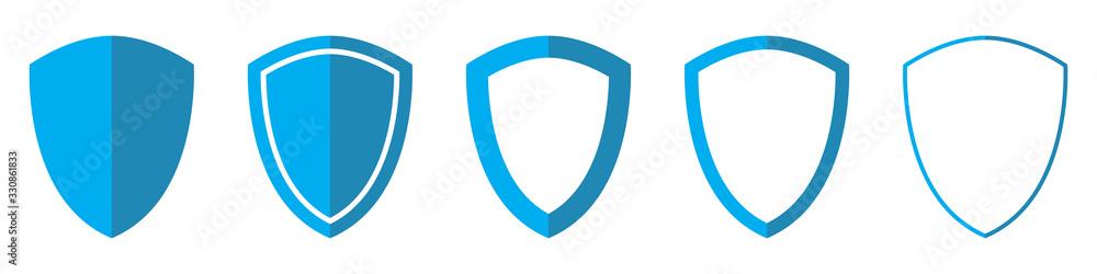 Fotografie, Obraz Vector Shield in flat style. Set of Shield icons