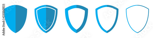 Valokuva Vector Shield in flat style. Set of Shield icons