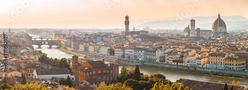 Fotografia Florence panoramic aerial view  at sunset