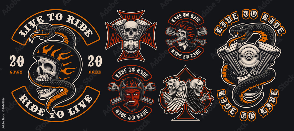 Fototapeta Set of colorful biker emblems