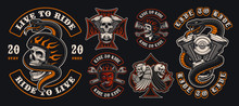 Set Of Colorful Biker Emblems