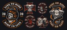 Set Of Colorful Biker Emblems