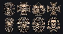 Set Of Black And White Biker Emblems On A Dark Background.