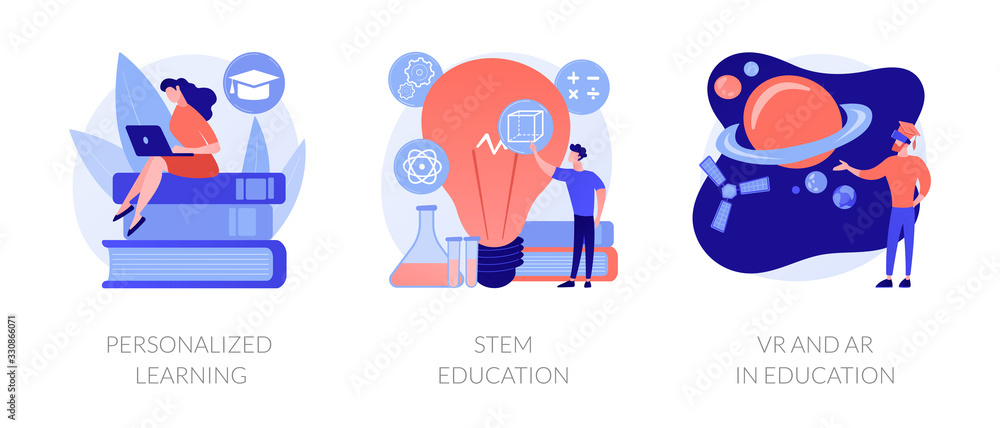 Fototapeta Personal studying program, academic system, futuristic technology icons set. Personalized learning, stem education, VR and AR in education metaphors. Vector isolated concept metaphor illustrations