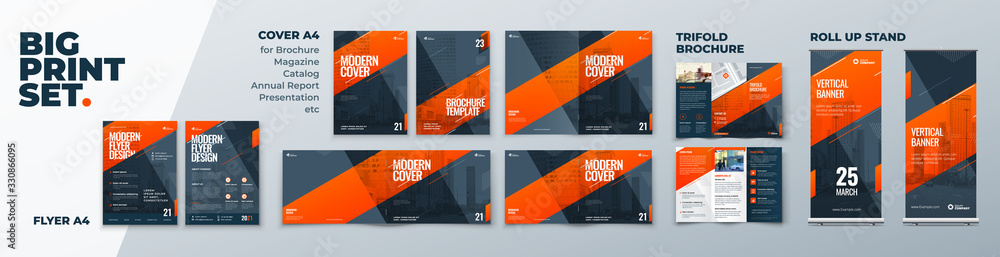Fototapeta Corporate Identity Print Template Set of Brochure cover, flyer, tri fold, report, catalog, roll up banner. Branding design. Business stationery background design collection.
