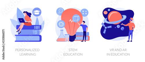 Fotografía Personal studying program, academic system, futuristic technology icons set