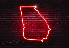 Neon Sign On A Brick Wall In The Shape Of Georgia.(illustration Series)