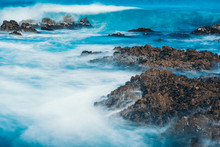 Long Exposure Of Sea Wave With...