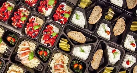 Panel Szklany Podświetlane Do baru Zdrowa dieta pudełkowa sniadanie obiad lunch box, na dowóz, na wynos, pełnowartościowy, zbilansowany fit posiłek na cały dzień