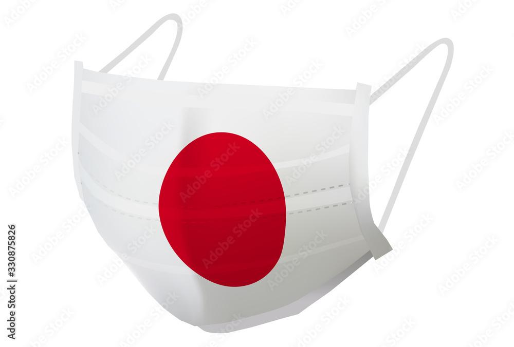 Fototapeta 日本 マスク  国旗 アイコン