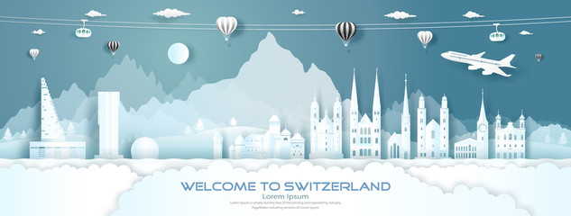 Travel panorama to switzerland top world famous palace, castle architecture.