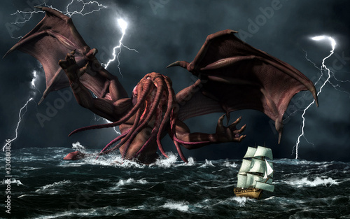 Photo The demonic god, Cthulhu, from a forgotten age rises from a stormy sea to terrorize a passing ship