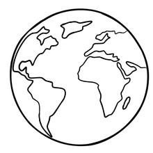 Planet Earth. Coloring Page. Vector Illustration