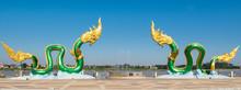 Naga Buddhism In Temple Of Thailand Nong Khai Asia.