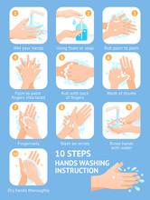 Hand Washing Steps Instruction Vector Illustrations.