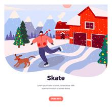 Ice Skate Vector Web Banner De...