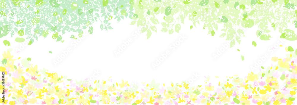 Fototapeta 新緑と小花のフレーム