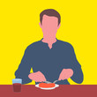 canvas print picture - Portrait of a guy sitting at a table and eating from a plate on a yellow background. Illustrative Drawing