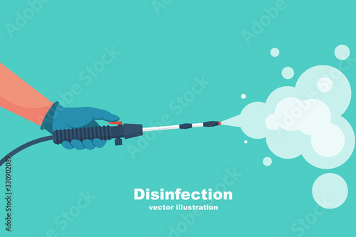 Obraz Prevention concept. Disinfection and cleaning. A man in chemical protection disinfects. Methods of controlling the epidemic of coronavirus. Vector illustration flat design. Cleaner in the hand. - fototapety do salonu