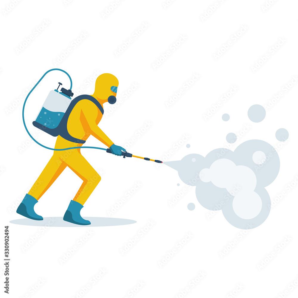 Fototapeta Disinfection concept. Man in yellow protective hazmat suit. Prevention coronavirus. Vector illustration flat design. Radiation and danger. Epidemic precautions.