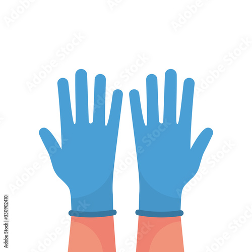 Hands putting on protective blue gloves Wallpaper Mural