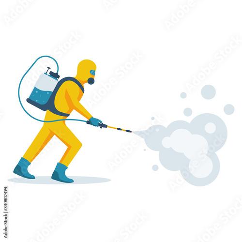 Obraz Disinfection concept. Man in yellow protective hazmat suit. Prevention coronavirus. Vector illustration flat design. Radiation and danger. Epidemic precautions. - fototapety do salonu
