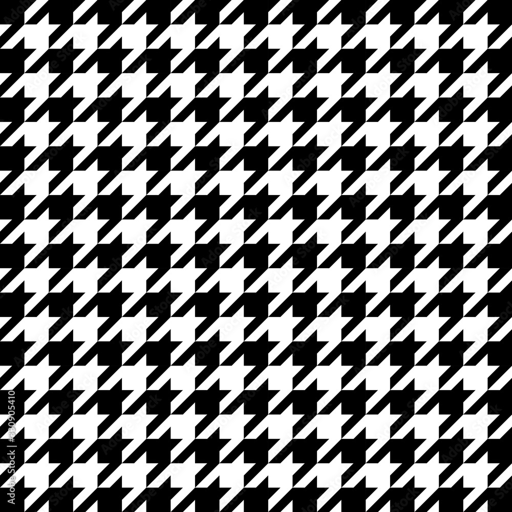 Fototapeta Vector image of black and white large houndstooth pattern.