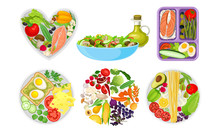 Healthy Food Served On Circle And Heart Shaped Plates Top View Vector Set
