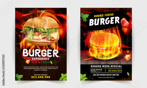 Fototapeta Fast Food Flyer Design Template cooking, cafe and restaurant menu, food ordering, junk food. Pizza, Burger, French fries and Soda. Vector illustration for banner, poster, flyer, cover, menu, brochure. obraz