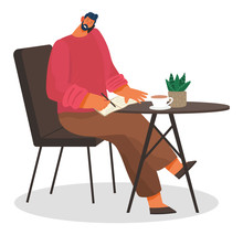 Person Taking On Phone And Writing Down Info On Notebook. Man In Cafe Or Restaurant Drinking Coffee And Solving Problems At Work. Businessman On Break In Diner Or Bistro. Vector In Flat Style