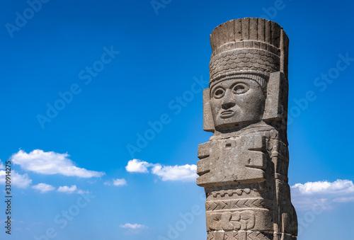 Toltec Warriors or Atlantes columns at Pyramid of Quetzalcoatl in Tula, Mexico Wallpaper Mural
