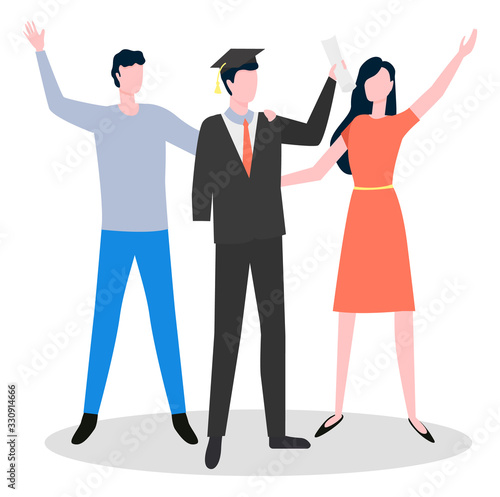 Photo Graduation of disabled student with amputated hand standing near man and woman waving hands