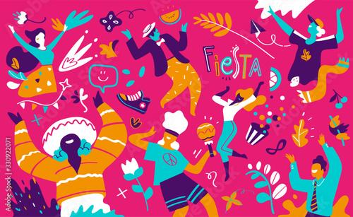 Obraz na plátně Uomini e donne sorridenti e felici si divertono, si godono la festa di compleann
