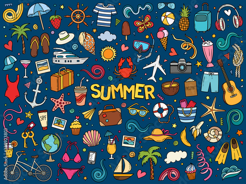 Colorful hand drawn vector doodle set of summer and vacation. Fototapete