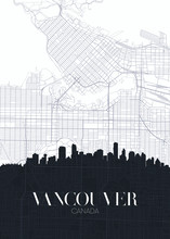 Skyline And City Map Of Vancou...